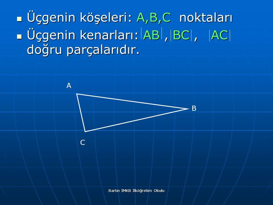 Üçgenin köşeleri: A,B,C noktaları Üçgenin köşeleri: A,B,C noktaları Üçgenin kenarları: AB, BC, AC doğru parçalarıdır.