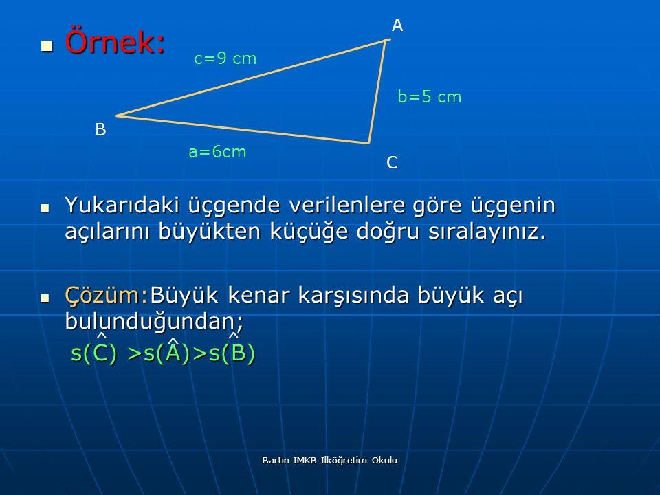 Örnek: Örnek: Yukarıdaki üçgende verilenlere göre üçgenin açılarını büyükten küçüğe doğru sıralayınız.