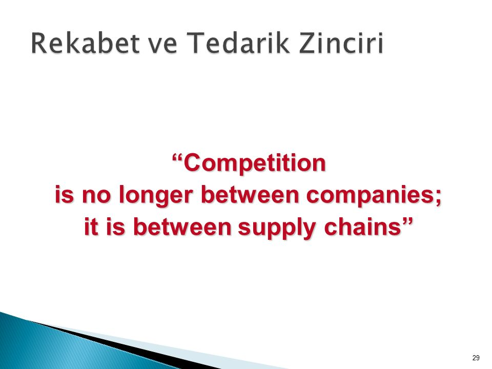Competition is no longer between companies; it is between supply chains 29