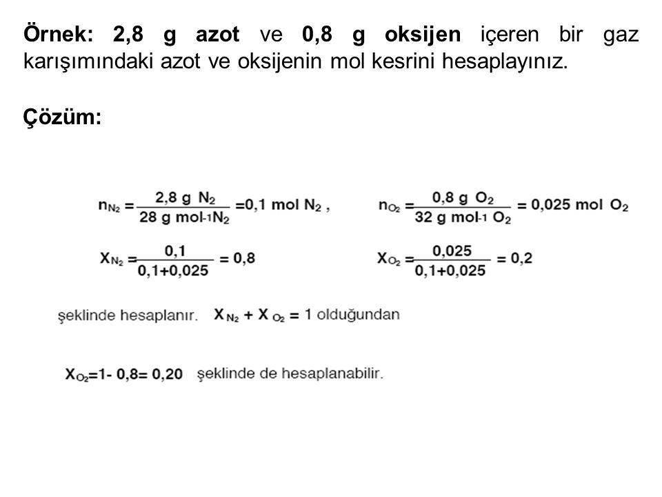 Örnek: 2,8 g azot ve 0,8 g oksijen içeren bir gaz karışımındaki azot ve oksijenin mol kesrini hesaplayınız.
