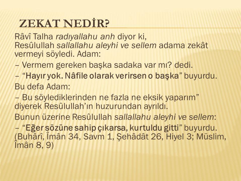 Râvî Talha radıyallahu anh diyor ki, Resûlullah sallallahu aleyhi ve sellem adama zekât vermeyi söyledi.