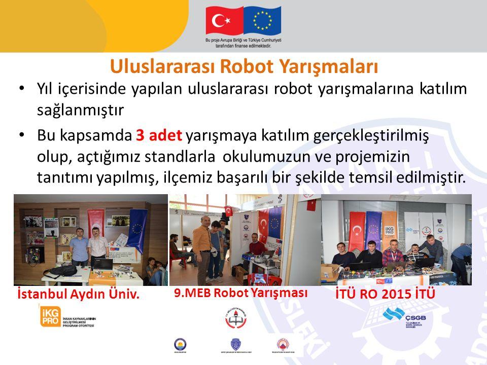 Uluslararası Robot Yarışmaları Yıl içerisinde yapılan uluslararası robot yarışmalarına katılım sağlanmıştır Bu kapsamda 3 adet yarışmaya katılım gerçekleştirilmiş olup, açtığımız standlarla okulumuzun ve projemizin tanıtımı yapılmış, ilçemiz başarılı bir şekilde temsil edilmiştir.