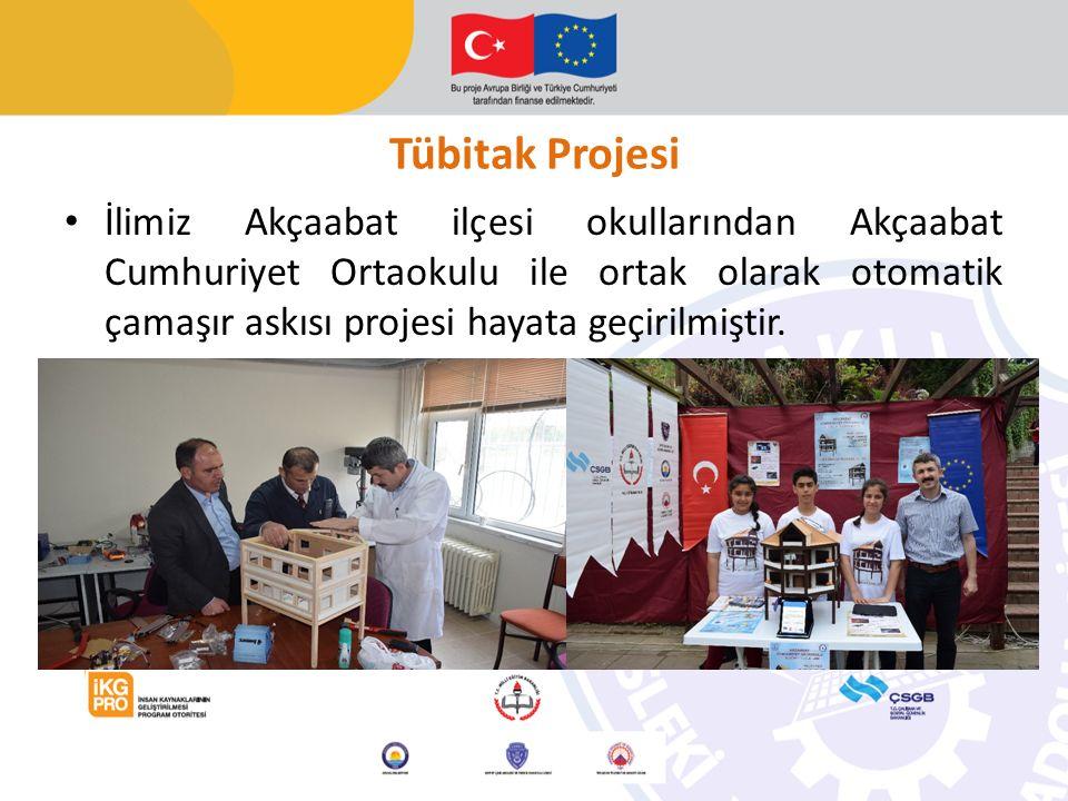 Tübitak Projesi İlimiz Akçaabat ilçesi okullarından Akçaabat Cumhuriyet Ortaokulu ile ortak olarak otomatik çamaşır askısı projesi hayata geçirilmiştir.