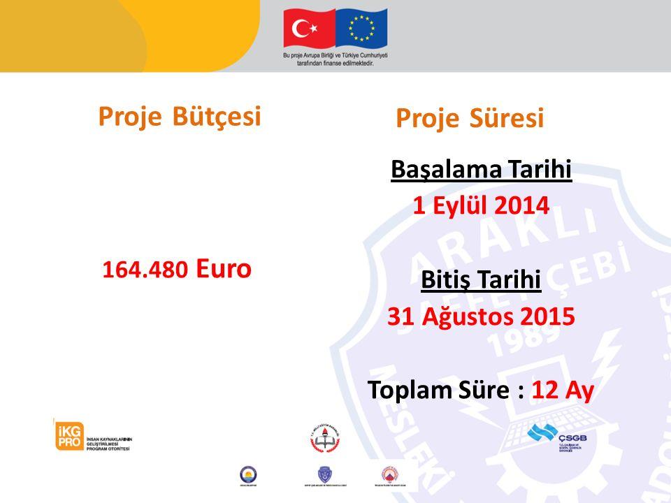 Proje Bütçesi 164.480 Euro Başalama Tarihi 1 Eylül 2014 Bitiş Tarihi 31 Ağustos 2015 Toplam Süre : 12 Ay Proje Süresi
