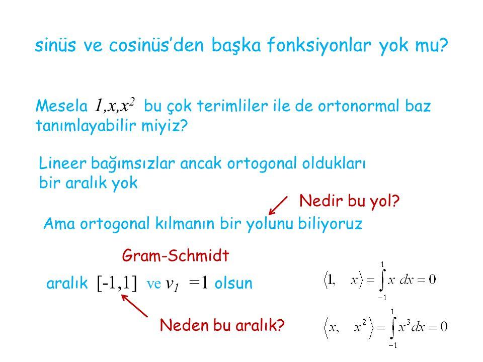 sinüs ve cosinüs'den başka fonksiyonlar yok mu? Mesela 1,x,x 2 bu çok terimliler ile de ortonormal baz tanımlayabilir miyiz? Lineer bağımsızlar ancak