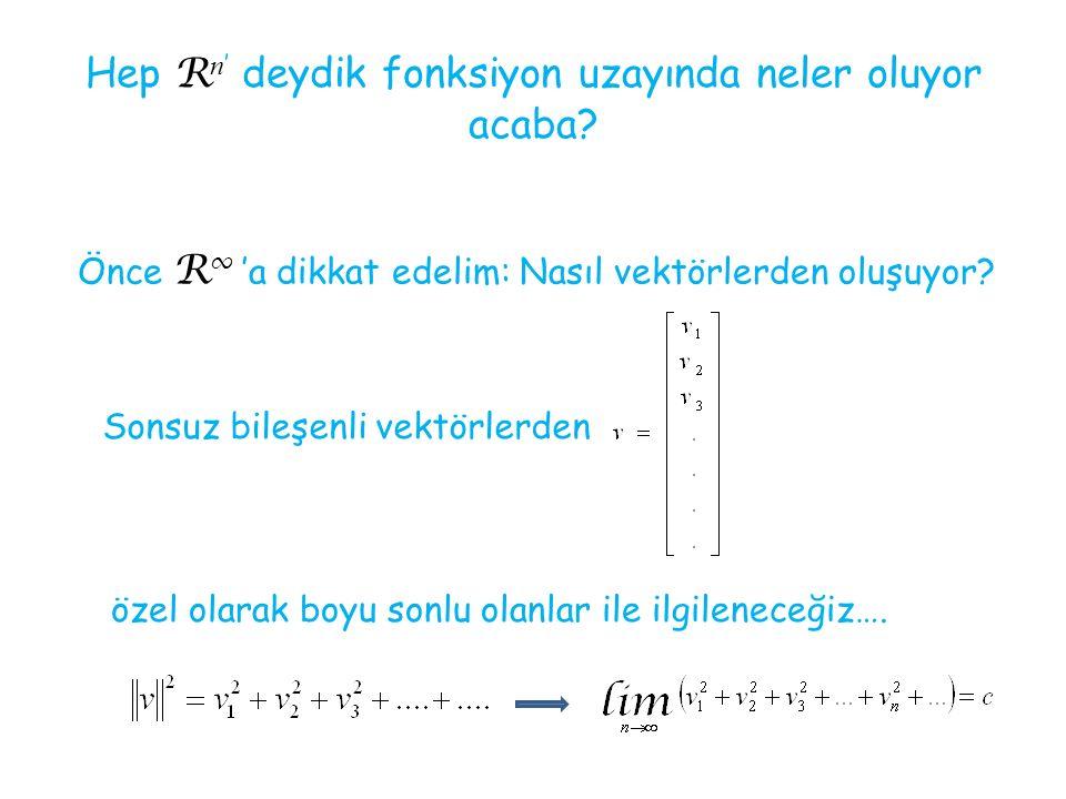 Hep R n ' deydik fonksiyon uzayında neler oluyor acaba? Önce R ∞ 'a dikkat edelim: Nasıl vektörlerden oluşuyor? Sonsuz bileşenli vektörlerden özel ola
