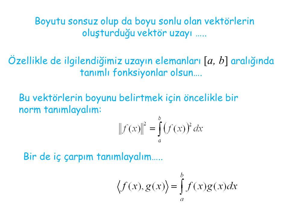Özellikle de ilgilendiğimiz uzayın elemanları [a, b] aralığında tanımlı fonksiyonlar olsun…. Boyutu sonsuz olup da boyu sonlu olan vektörlerin oluştur