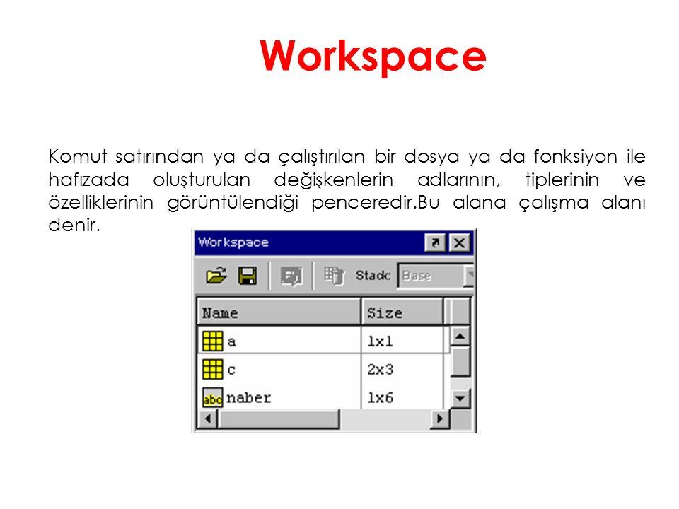 Workspace Komut satırından ya da çalıştırılan bir dosya ya da fonksiyon ile hafızada oluşturulan değişkenlerin adlarının, tiplerinin ve özelliklerinin görüntülendiği penceredir.Bu alana çalışma alanı denir.