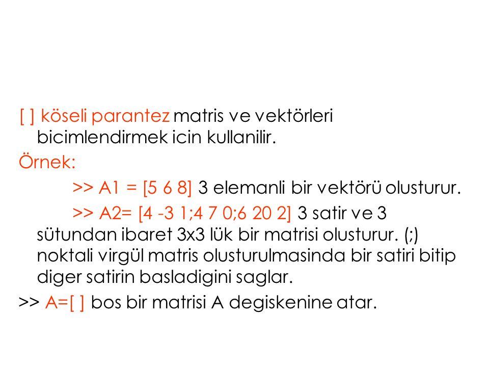 [ ] köseli parantez matris ve vektörleri bicimlendirmek icin kullanilir. Örnek: >> A1 = [5 6 8] 3 elemanli bir vektörü olusturur. >> A2= [4 -3 1;4 7 0
