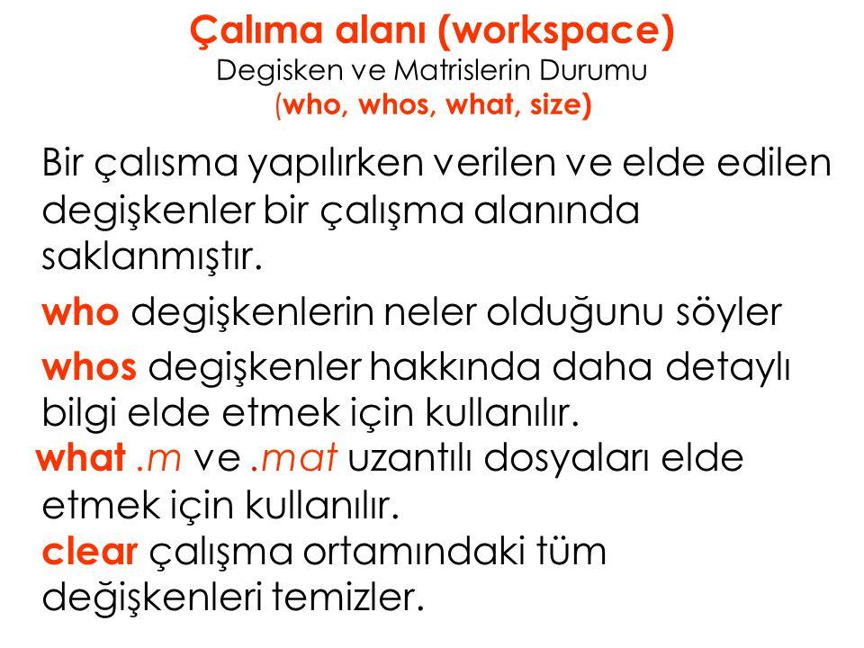 Çalıma alanı (workspace) Degisken ve Matrislerin Durumu ( who, whos, what, size) Bir çalısma yapılırken verilen ve elde edilen degişkenler bir çalışma