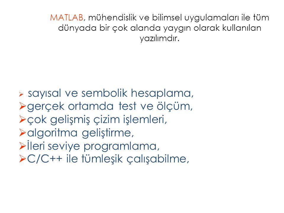 MATLAB, mühendislik ve bilimsel uygulamaları ile tüm dünyada bir çok alanda yaygın olarak kullanılan yazılımdır.