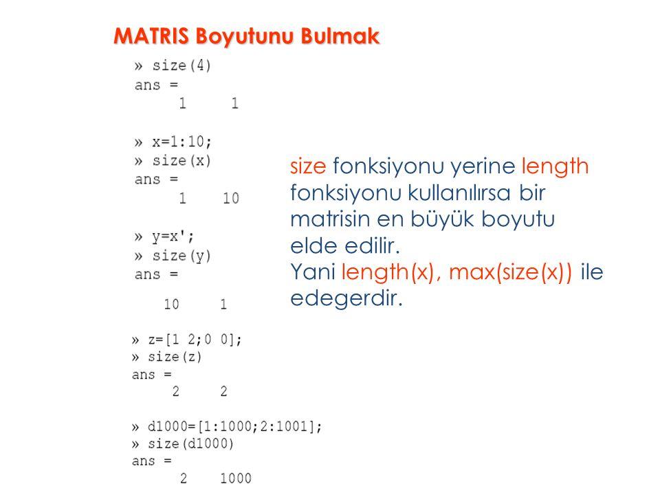 size fonksiyonu yerine length fonksiyonu kullanılırsa bir matrisin en büyük boyutu elde edilir.