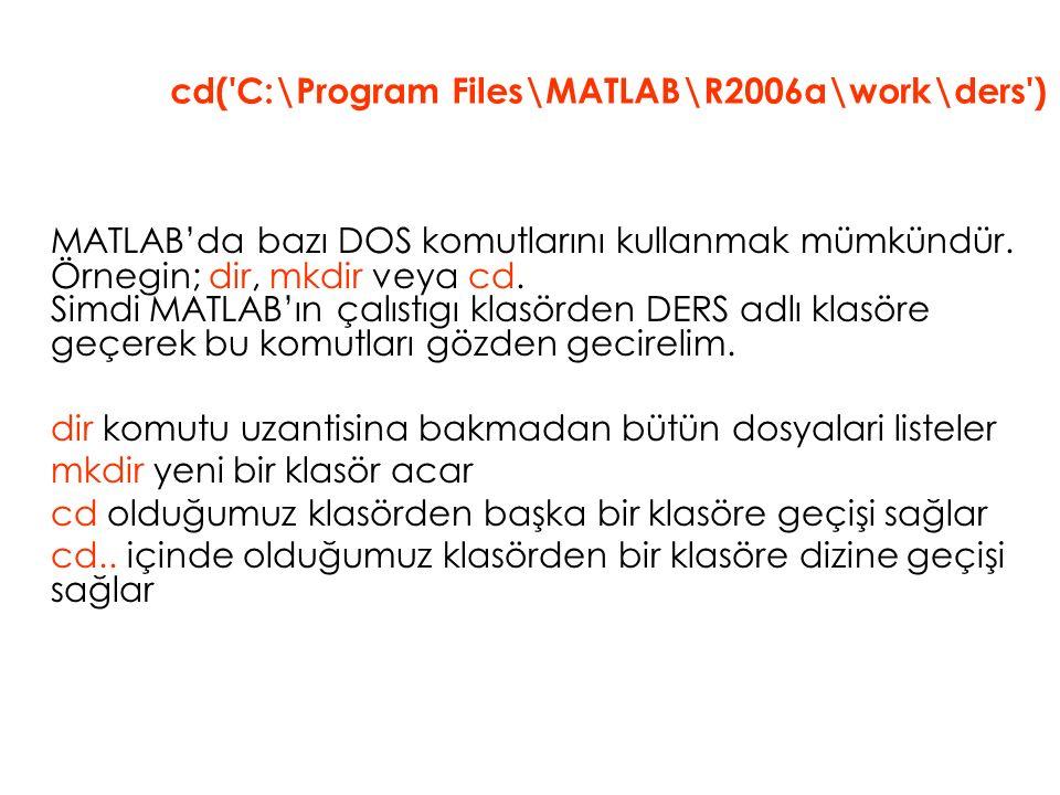 MATLAB'da bazı DOS komutlarını kullanmak mümkündür. Örnegin; dir, mkdir veya cd. Simdi MATLAB'ın çalıstıgı klasörden DERS adlı klasöre geçerek bu komu