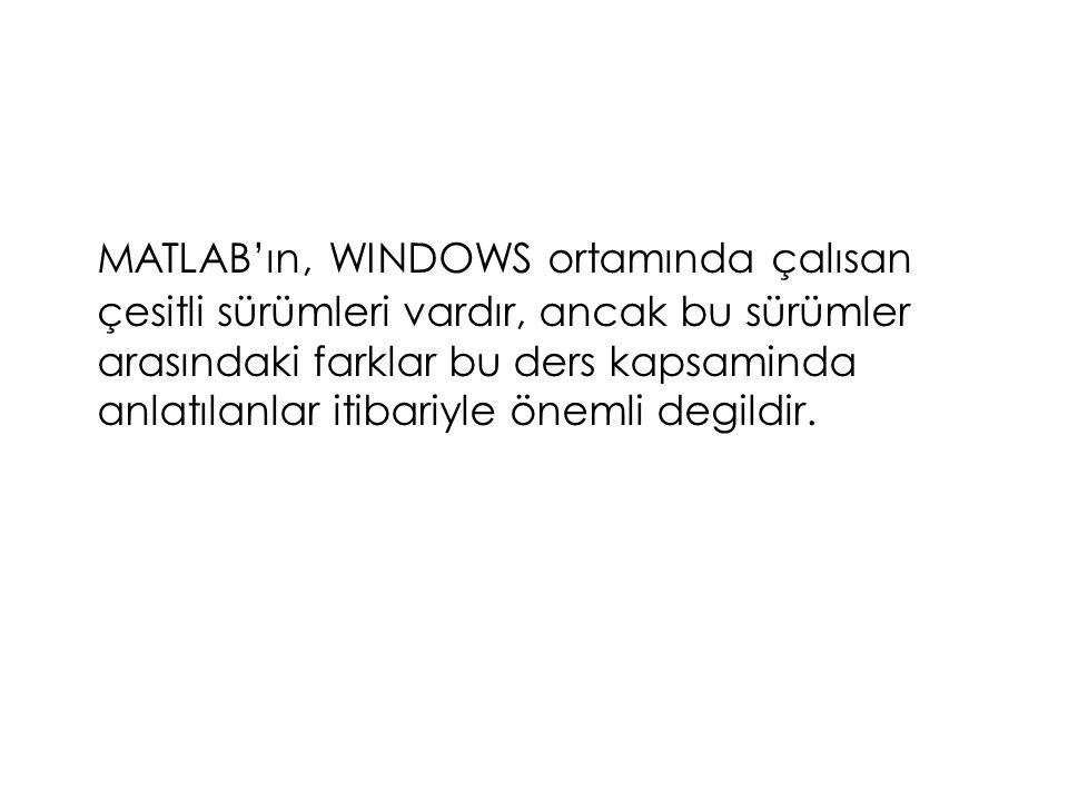 MATLAB Kullanımına Giriş Komut Penceresi  WINDOWS ortamında çalısırken masa üstündeki MATLAB simgesini tıklatarak giris yapılabilir.