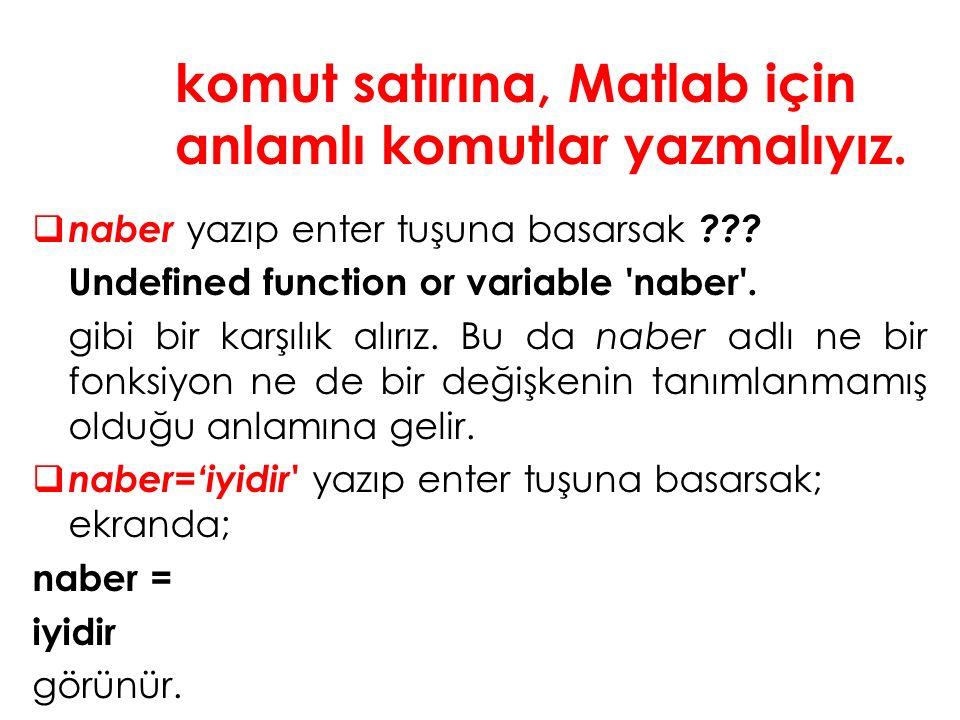  naber yazıp enter tuşuna basarsak . Undefined function or variable naber .