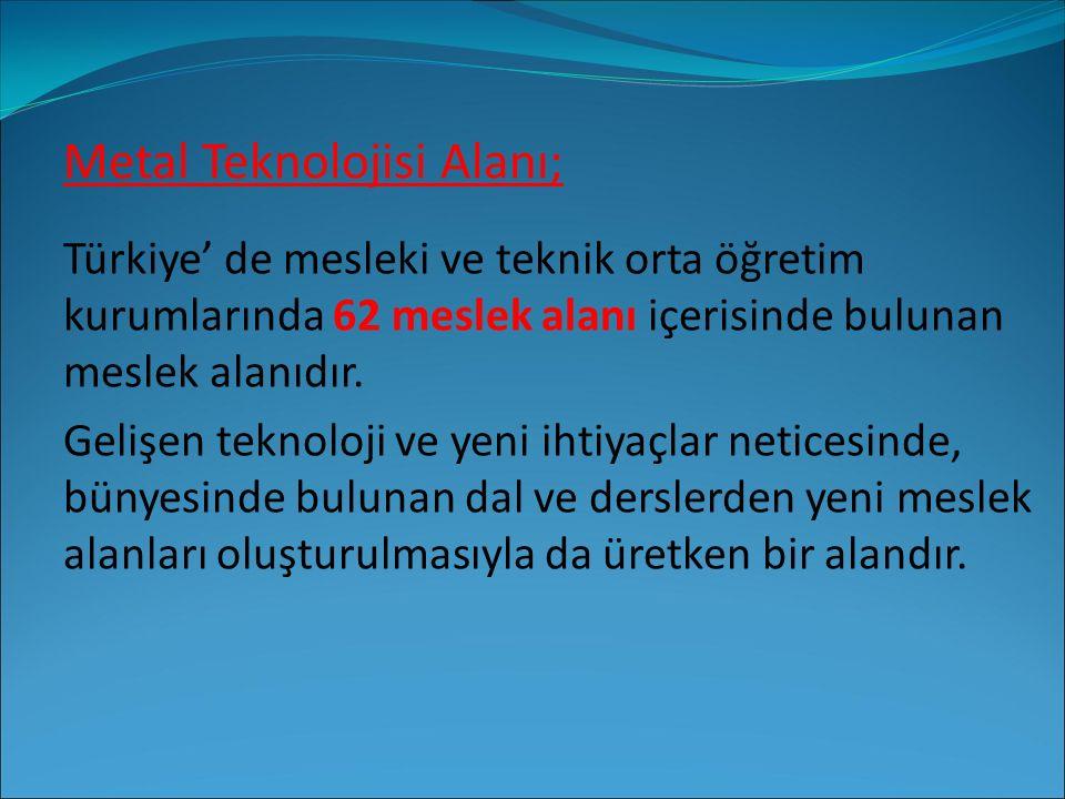 Metal Teknolojisi Alanı; Türkiye' de mesleki ve teknik orta öğretim kurumlarında 62 meslek alanı içerisinde bulunan meslek alanıdır. Gelişen teknoloji