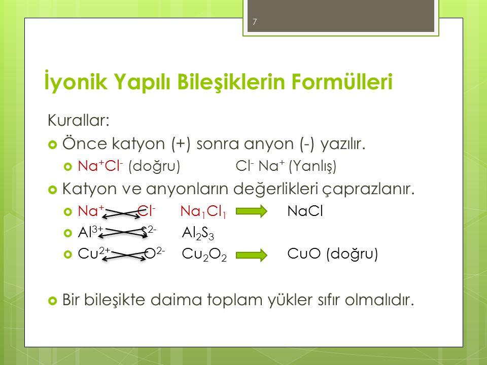 İyonik Yapılı Bileşiklerin Formülleri Kurallar:  Önce katyon (+) sonra anyon (-) yazılır.