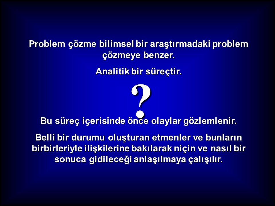 Problem çözme bilimsel bir araştırmadaki problem çözmeye benzer.