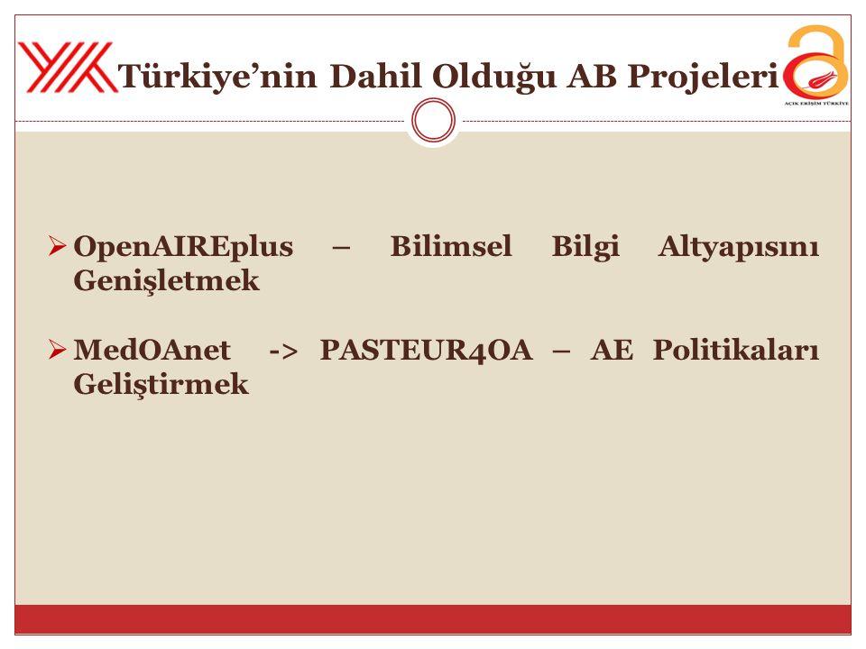 Türkiye'nin Dahil Olduğu AB Projeleri  OpenAIREplus – Bilimsel Bilgi Altyapısını Genişletmek  MedOAnet -> PASTEUR4OA – AE Politikaları Geliştirmek