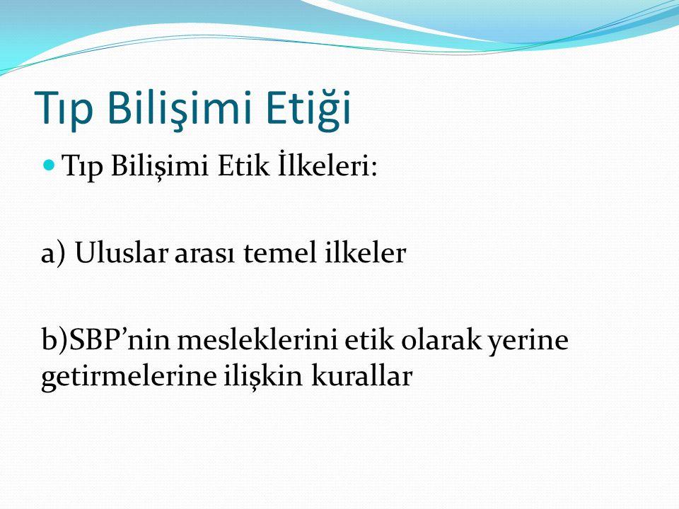 Tıp Bilişimi Etiği Tıp Bilişimi Etik İlkeleri: a) Uluslar arası temel ilkeler b)SBP'nin mesleklerini etik olarak yerine getirmelerine ilişkin kurallar