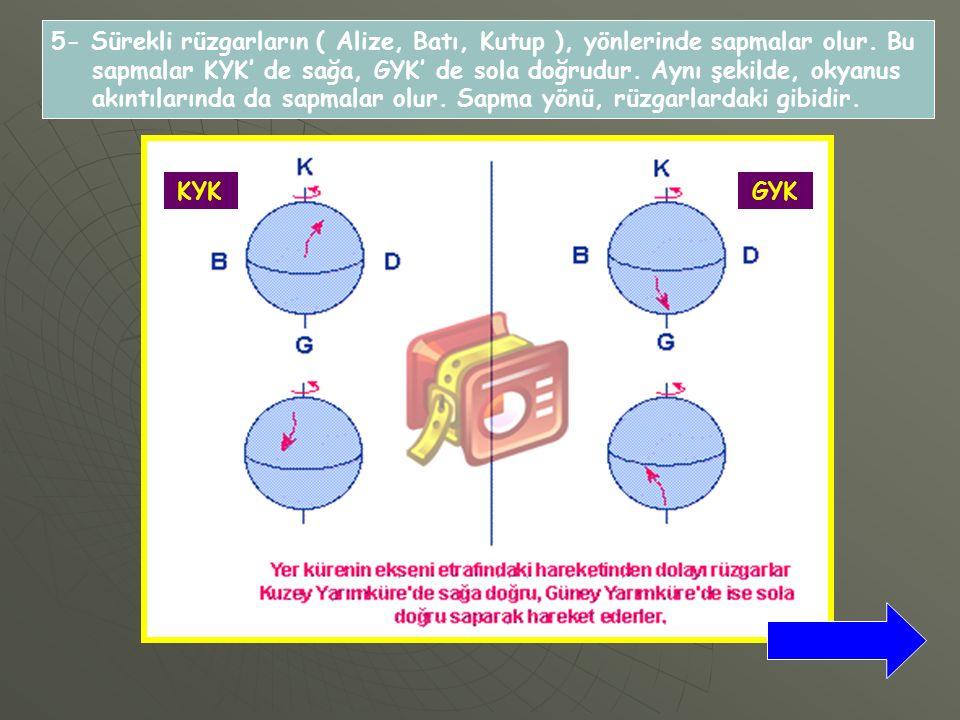 5- Sürekli rüzgarların ( Alize, Batı, Kutup ), yönlerinde sapmalar olur.