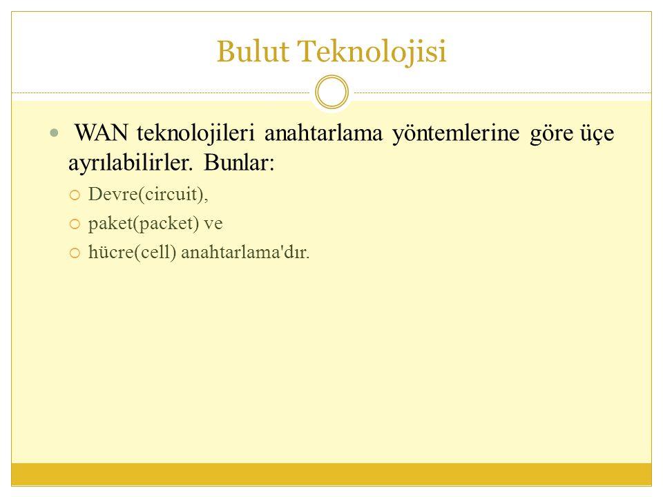 Bulut Teknolojisi WAN teknolojileri anahtarlama yöntemlerine göre üçe ayrılabilirler.