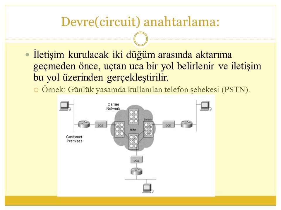 Devre(circuit) anahtarlama: İletişim kurulacak iki düğüm arasında aktarıma geçmeden önce, uçtan uca bir yol belirlenir ve iletişim bu yol üzerinden gerçekleştirilir.