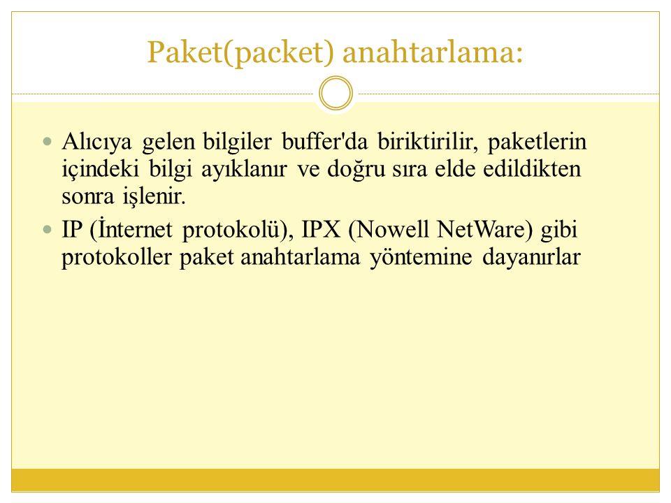 Paket(packet) anahtarlama: Alıcıya gelen bilgiler buffer da biriktirilir, paketlerin içindeki bilgi ayıklanır ve doğru sıra elde edildikten sonra işlenir.
