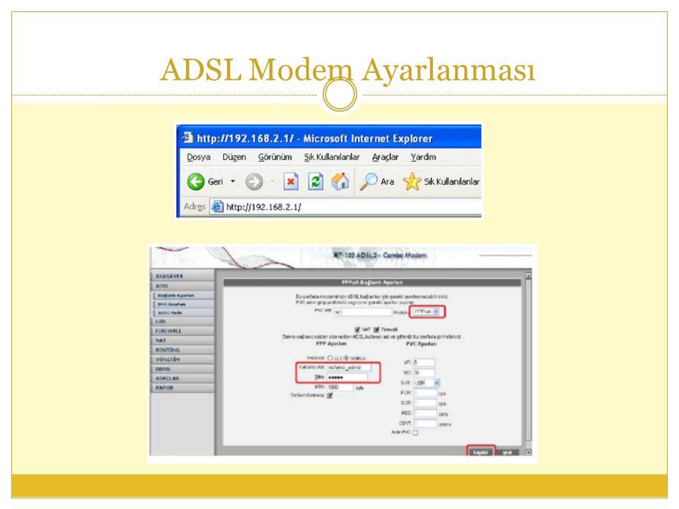ADSL Modem Ayarlanması