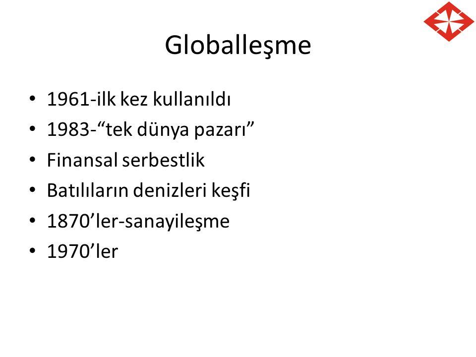 Globalleşme 1961-ilk kez kullanıldı 1983- tek dünya pazarı Finansal serbestlik Batılıların denizleri keşfi 1870'ler-sanayileşme 1970'ler