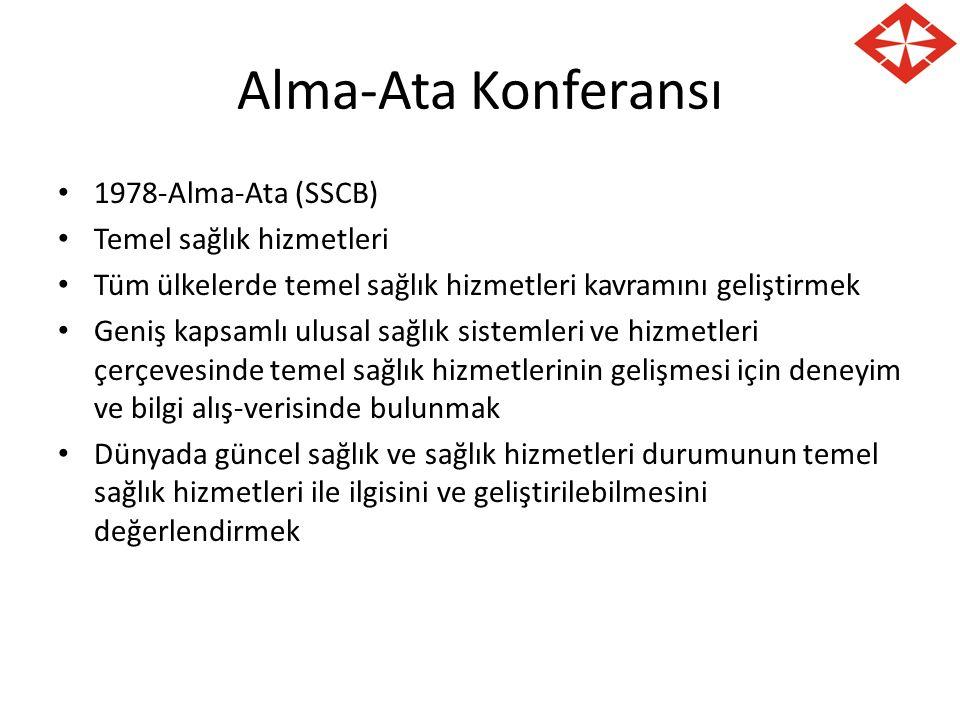 Alma-Ata Konferansı 1978-Alma-Ata (SSCB) Temel sağlık hizmetleri Tüm ülkelerde temel sağlık hizmetleri kavramını geliştirmek Geniş kapsamlı ulusal sağ