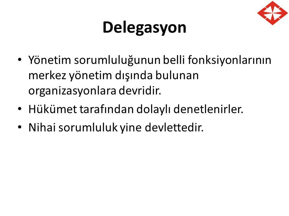 Delegasyon Yönetim sorumluluğunun belli fonksiyonlarının merkez yönetim dışında bulunan organizasyonlara devridir. Hükümet tarafından dolaylı denetlen