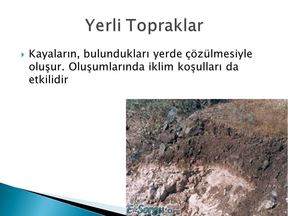  Kayaların, bulundukları yerde çözülmesiyle oluşur. Oluşumlarında iklim koşulları da etkilidir