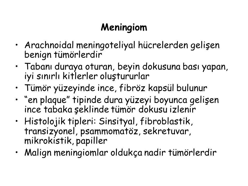 Meningiom Arachnoidal meningoteliyal hücrelerden gelişen benign tümörlerdir Tabanı duraya oturan, beyin dokusuna bası yapan, iyi sınırlı kitlerler olu