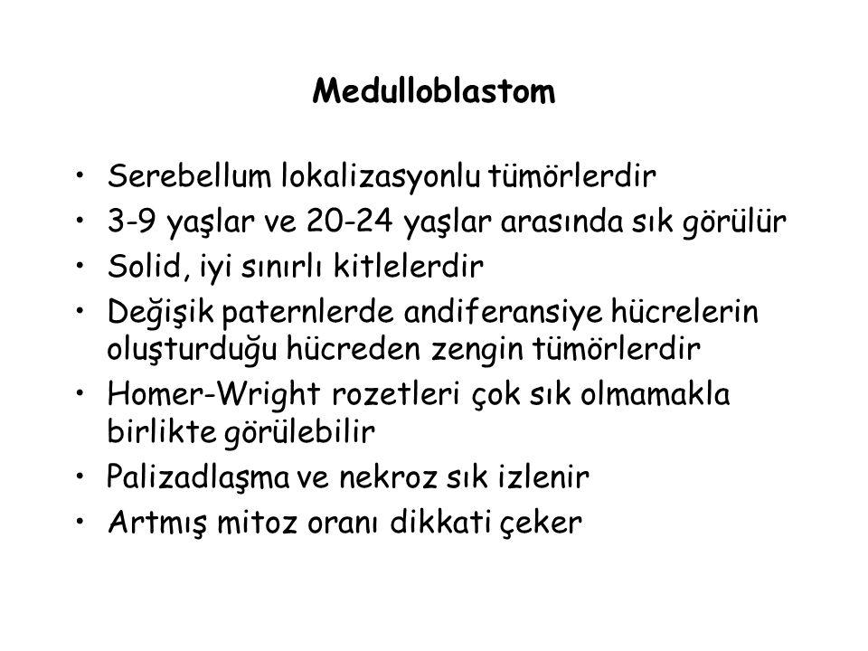 Medulloblastom Serebellum lokalizasyonlu tümörlerdir 3-9 yaşlar ve 20-24 yaşlar arasında sık görülür Solid, iyi sınırlı kitlelerdir Değişik paternlerd