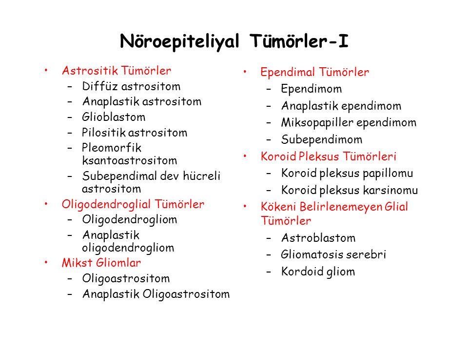 Nöroepiteliyal Tümörler-I Astrositik Tümörler –Diffüz astrositom –Anaplastik astrositom –Glioblastom –Pilositik astrositom –Pleomorfik ksantoastrosito
