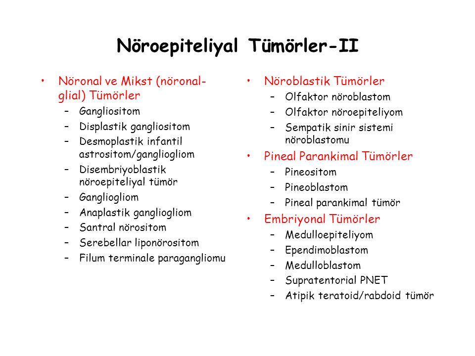 Nöroepiteliyal Tümörler-II Nöronal ve Mikst (nöronal- glial) Tümörler –Gangliositom –Displastik gangliositom –Desmoplastik infantil astrositom/ganglio