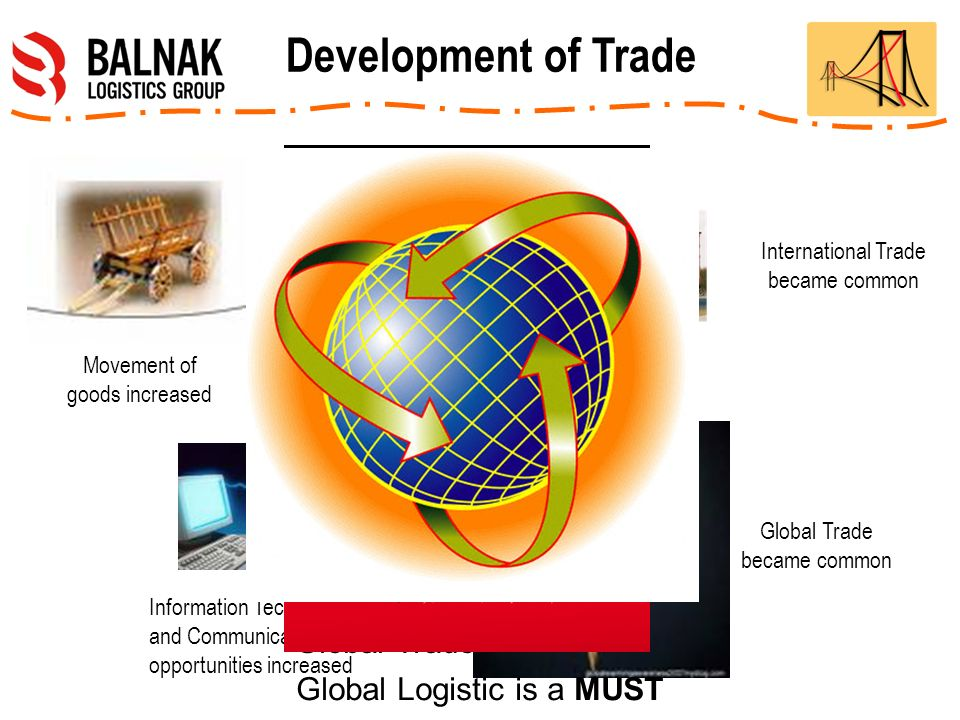 Movement of goods increased International Trade became common Information Technologies and Communication opportunities increased Global Trade became common Global Trade is a MUST Global Logistic is a MUST Development of Trade