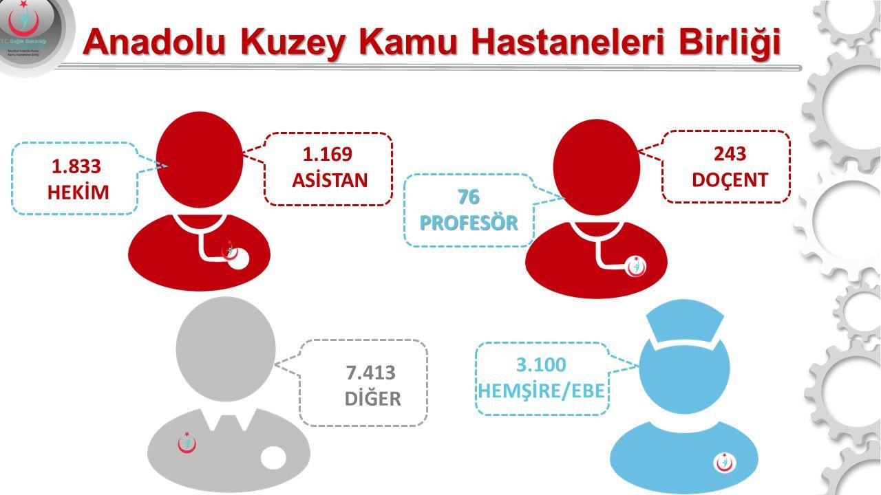 1.169 ASİSTAN 7.413 DİĞER 3.100 HEMŞİRE/EBE 243 DOÇENT 76PROFESÖR 1.833 HEKİM Anadolu Kuzey Kamu Hastaneleri Birliği