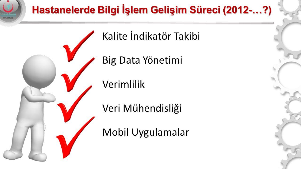 Kalite İndikatör Takibi Big Data Yönetimi Verimlilik Veri Mühendisliği Mobil Uygulamalar Hastanelerde Bilgi İşlem Gelişim Süreci (2012-…?)