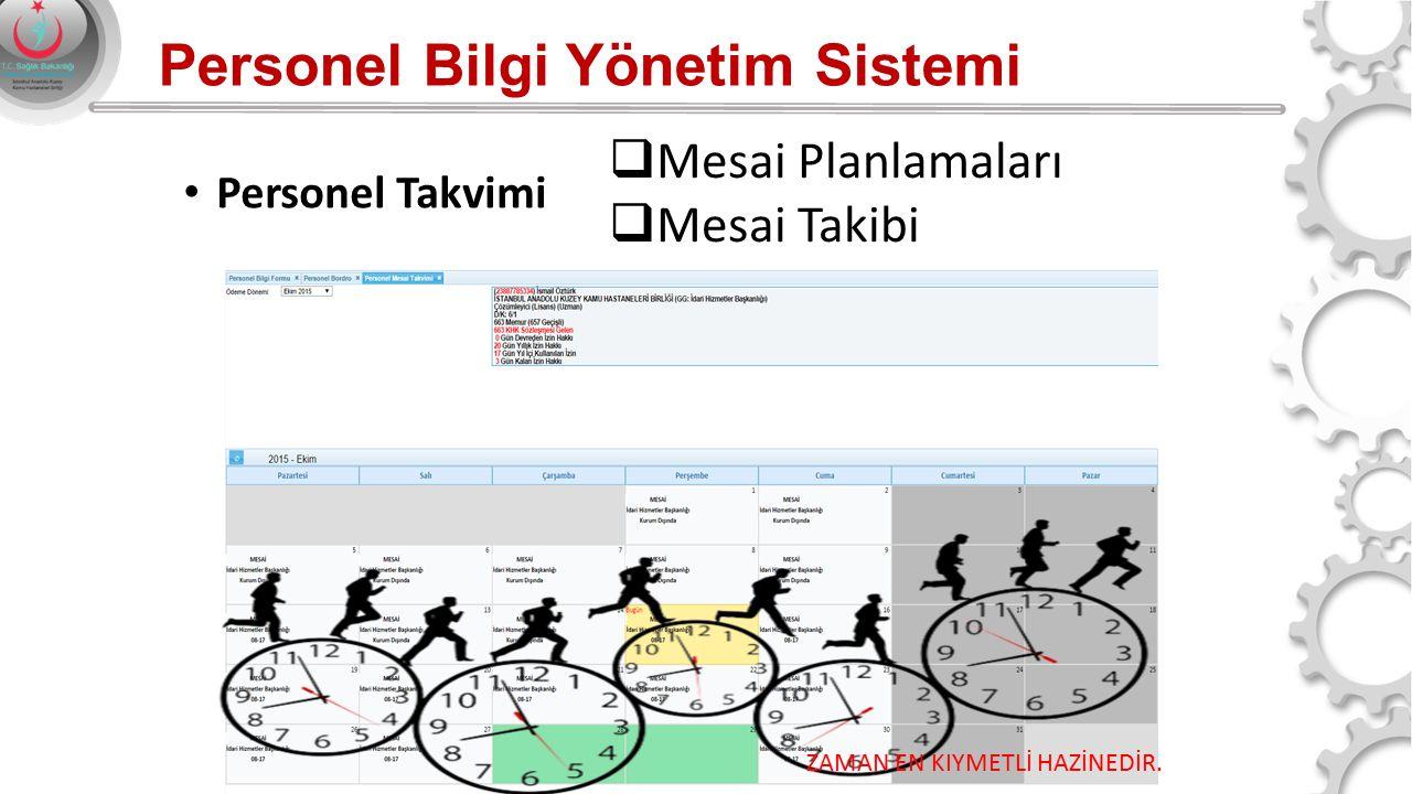 Personel Bilgi Yönetim Sistemi Personel Takvimi ZAMAN EN KIYMETLİ HAZİNEDİR.  Mesai Planlamaları  Mesai Takibi