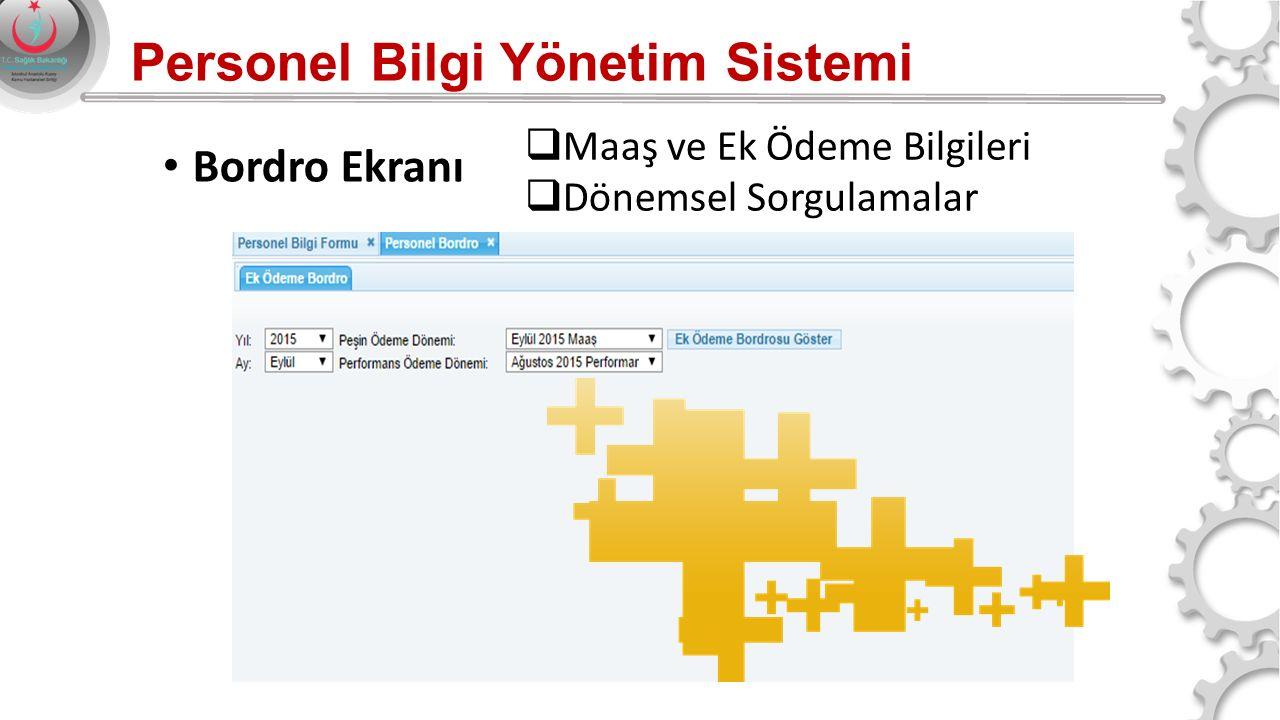Personel Bilgi Yönetim Sistemi Bordro Ekranı  Maaş ve Ek Ödeme Bilgileri  Dönemsel Sorgulamalar