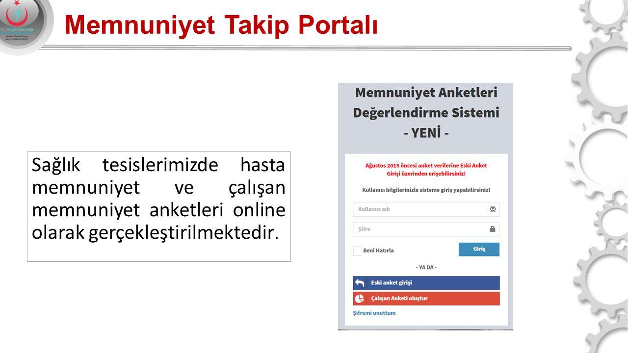Memnuniyet Takip Portalı Sağlık tesislerimizde hasta memnuniyet ve çalışan memnuniyet anketleri online olarak gerçekleştirilmektedir.