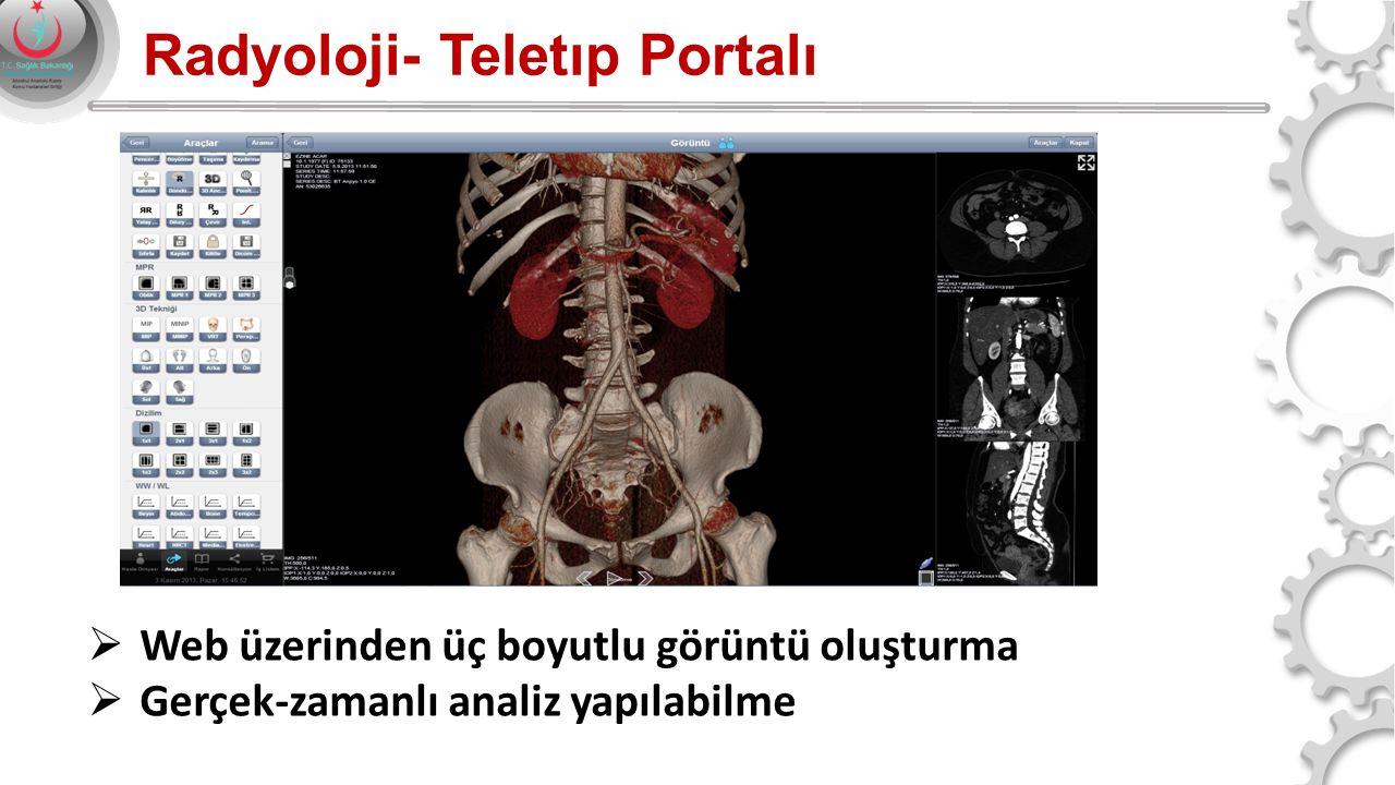 Radyoloji- Teletıp Portalı  Web üzerinden üç boyutlu görüntü oluşturma  Gerçek-zamanlı analiz yapılabilme
