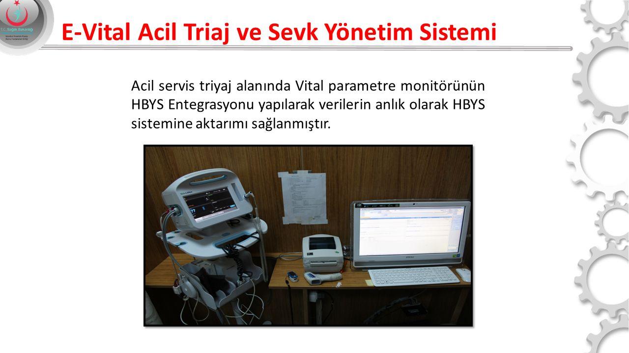 E-Vital Acil Triaj ve Sevk Yönetim Sistemi Acil servis triyaj alanında Vital parametre monitörünün HBYS Entegrasyonu yapılarak verilerin anlık olarak