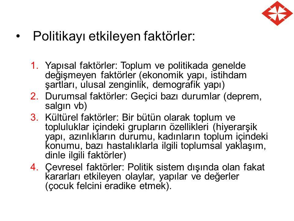 Politikayı etkileyen faktörler: 1.Yapısal faktörler: Toplum ve politikada genelde değişmeyen faktörler (ekonomik yapı, istihdam şartları, ulusal zengi