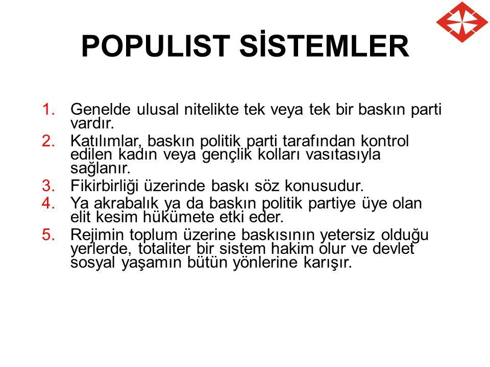 POPULIST SİSTEMLER 1.Genelde ulusal nitelikte tek veya tek bir baskın parti vardır. 2.Katılımlar, baskın politik parti tarafından kontrol edilen kadın
