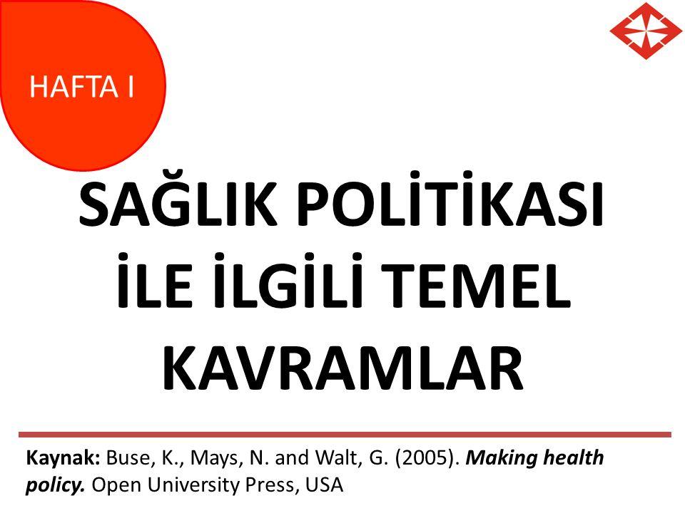SAĞLIK POLİTİKASI İLE İLGİLİ TEMEL KAVRAMLAR HAFTA I Kaynak: Buse, K., Mays, N. and Walt, G. (2005). Making health policy. Open University Press, USA