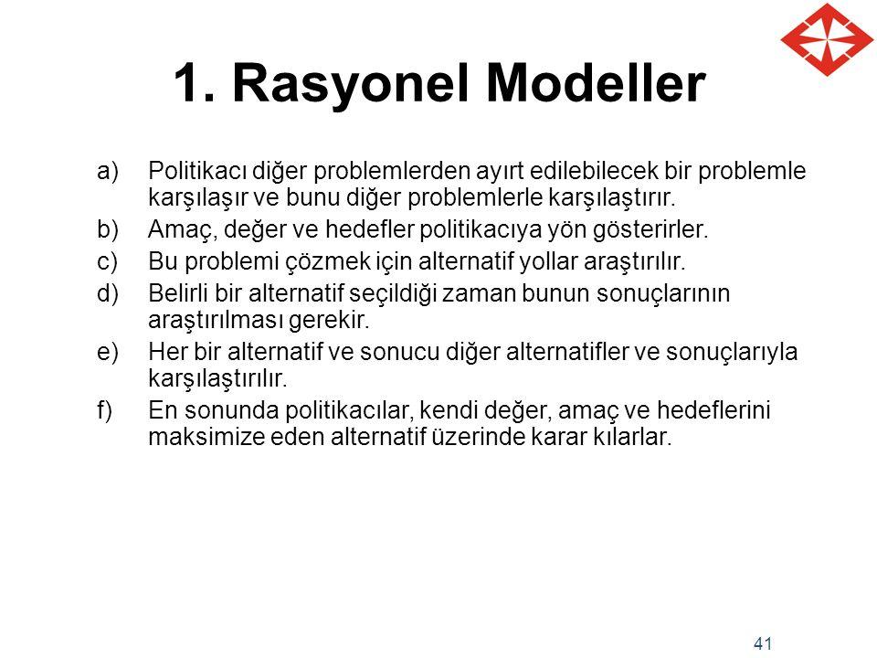 41 1. Rasyonel Modeller a)Politikacı diğer problemlerden ayırt edilebilecek bir problemle karşılaşır ve bunu diğer problemlerle karşılaştırır. b)Amaç,