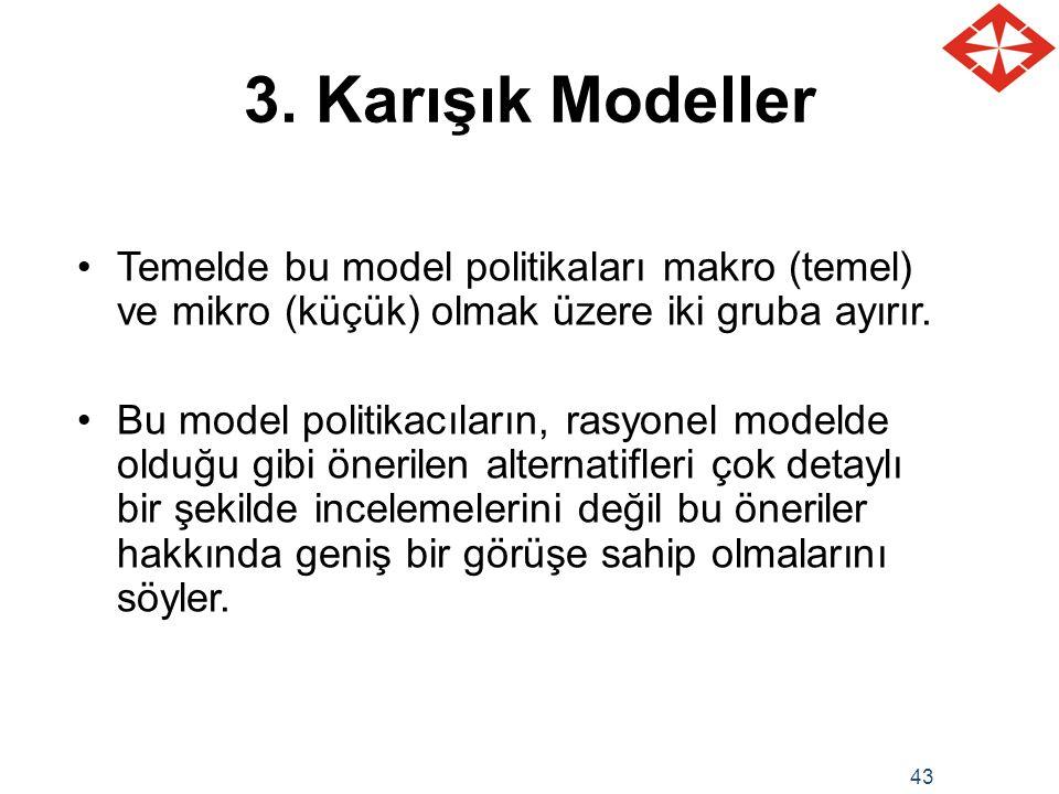 43 3. Karışık Modeller Temelde bu model politikaları makro (temel) ve mikro (küçük) olmak üzere iki gruba ayırır. Bu model politikacıların, rasyonel m